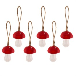 Mini Forest Toadstool Hanging Decorations - Set of 6