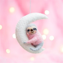 Sloth On The Moon Hanging Felt Decoration