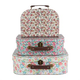 Set of 3 English Garden Suitcases