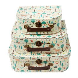 Set of 3 Whimsical Woodland Suitcases