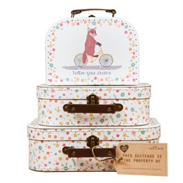 Set of 3 Happy Animals on  Bike Suitcases