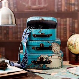 Vintage Map Suitcases - Set of 3