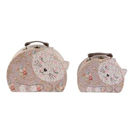 Set of 2 Floral Friends Jessie the Cat Suitcases