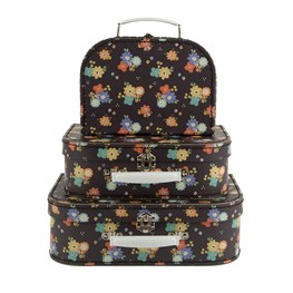 Set of 3 Dahlia Floral Suitcases
