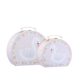 Set of 2 Freya Swan Pink Floral Suitcases