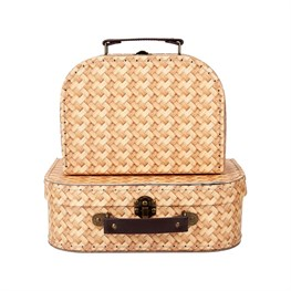 Rattan Print Suitcases - Set of 2