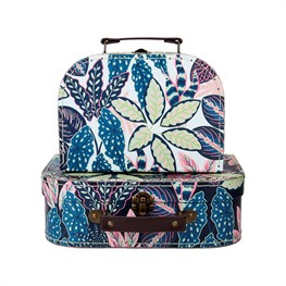 Variegated Leaves Suitcases - Set of 2