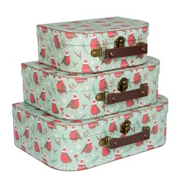 Set of 3 Christmas Robin Suitcases