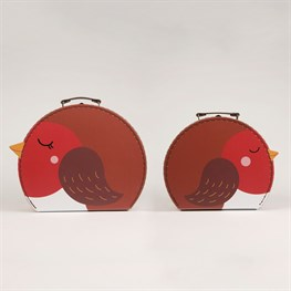 Set of 2 Sleeping Robin Suitcases