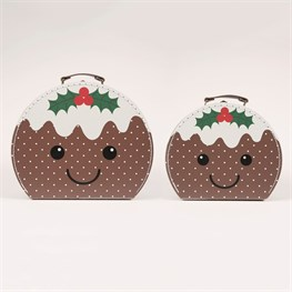 Set of 2 Christmas Pudding Suitcases