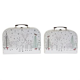Winter Forest Folk Deer Suitcases - Set of 2