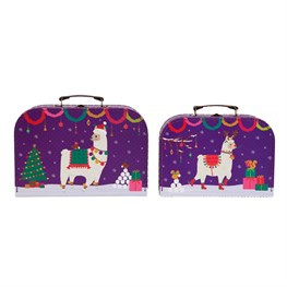 Set of 2 Fa La La Llama Suitcases