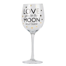 Love You to the Moon Golden Stars Wine Glass