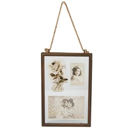 Industrial Finish Double Rectangular Hanging Photo Frame
