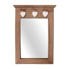 Ashley Farmhouse Portrait Mirror with 3 Hanging Hearts