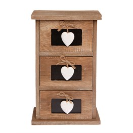 Ashley Farmhouse Wooden Drawers with Chalkboard Hearts