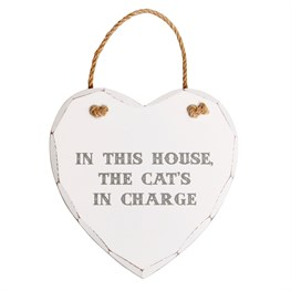 In This House Cat Heart Plaque