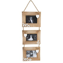 Ashley Farmhouse Mr & Mrs Triple Photo Frame
