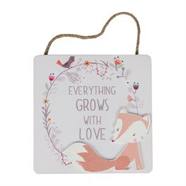 Fox Woodland Friends Everything Grows Plaque