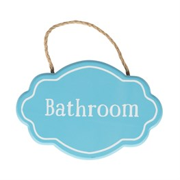 Bathroom Fancy Oval Plaque Blue