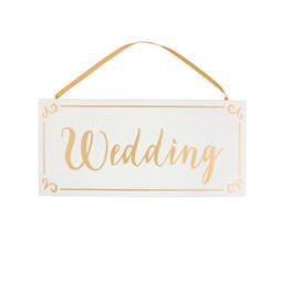 Gold & White Wedding Hanging Plaque