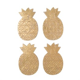 Set of 4 Gold Pineapple Coasters