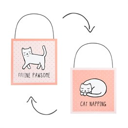 Cutie Cat Nap Time Reversible Hanging Door Plaque