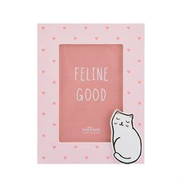 Cutie Cat Pink Hearts Photo Frame