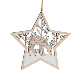 Winter Forest Folk Deer Star Hanging Decoration