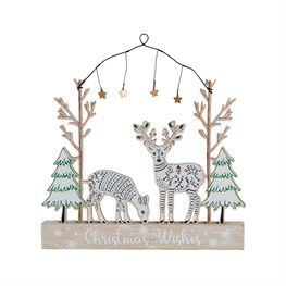 Winter Forest Folk Deer Christmas Wishes Hanging Decoration