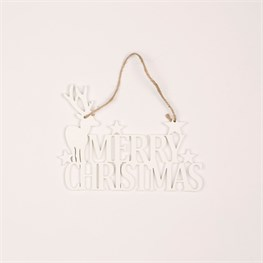 White Reindeer Merry Christmas Hanging Decoration