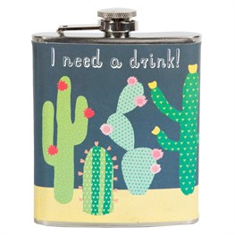 Colorful Cactus 'I Need a Drink' Hip Flask