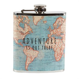 Vintage Map Adventure Hip Flask