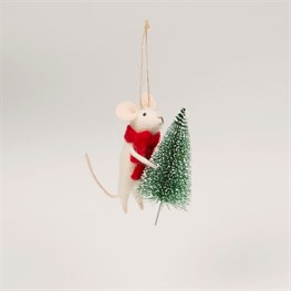 Mouse with Christmas Tree Felt Decoration