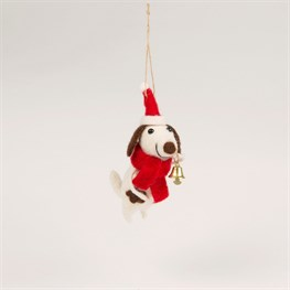 Festive Doggie with Bell Felt Decoration