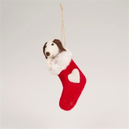 Felt Doggie in Stocking Hanging Decoration