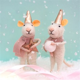 Star & Snowball Mice Felt Decorations