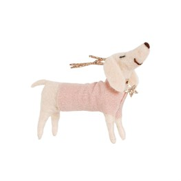 Dachshund Dog with Antlers Felt Decoration