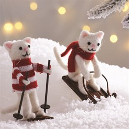 Skiing & Sledging Cat Decoration - 1 Piece