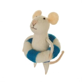 Beach Fun Rubber Ring Mouse Standing Felt Decoration