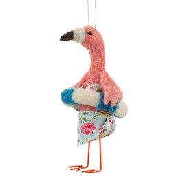 Beach Fun Rubber Ring Flamingo Hanging Felt Decoration