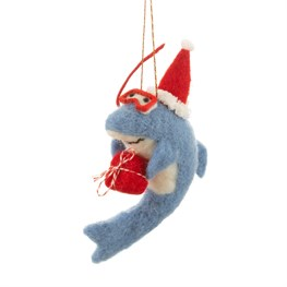 Beach Fun Christmas Shark Hanging Felt Decoration
