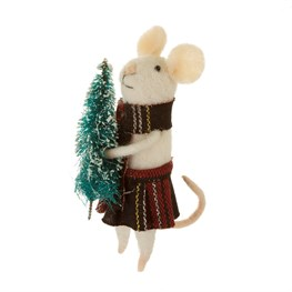Tartan Tree Mouse Standing Felt Decoration