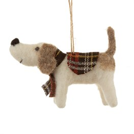 Tartan Dog Hanging Felt Decoration