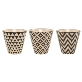 Mini Black Geo Planters - Set of 3