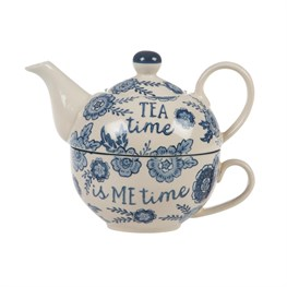 Blue Willow Floral Teapot For One