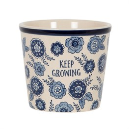Blue Floral Keep Growing Planter