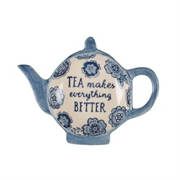 Blue Floral Tea Lovers Tea Bag Dish