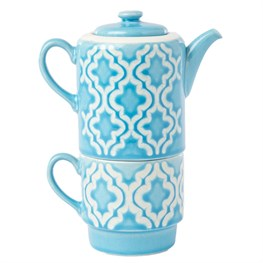 Layla Tea for One Teapot Cup Blue