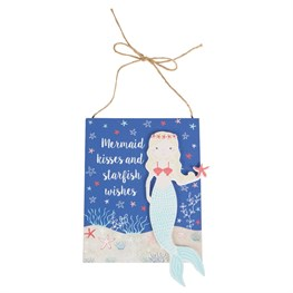 Mermaid Kisses Seaside Hanging Plaque